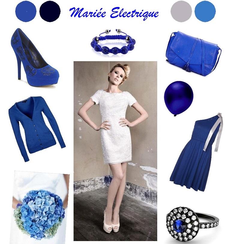 Bijoux avec robe bleu electrique