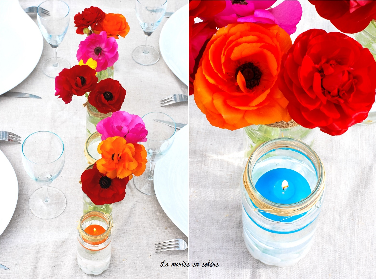 Decoration Mariage Un Chemin De Table Colore