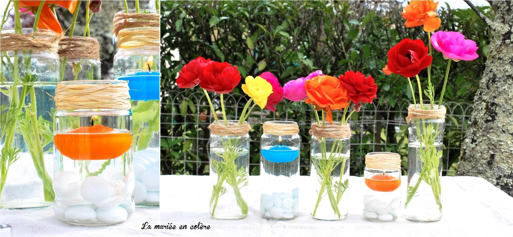 Centre de table color s 1 la mari e en col re blog mariage grossesse voya - Deco chemin de table ...