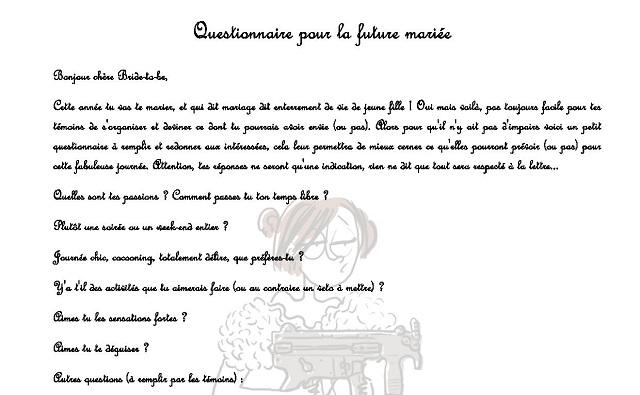 Relativ Comment organiser un un EVJF : questionnaire pour la future mariée XT73