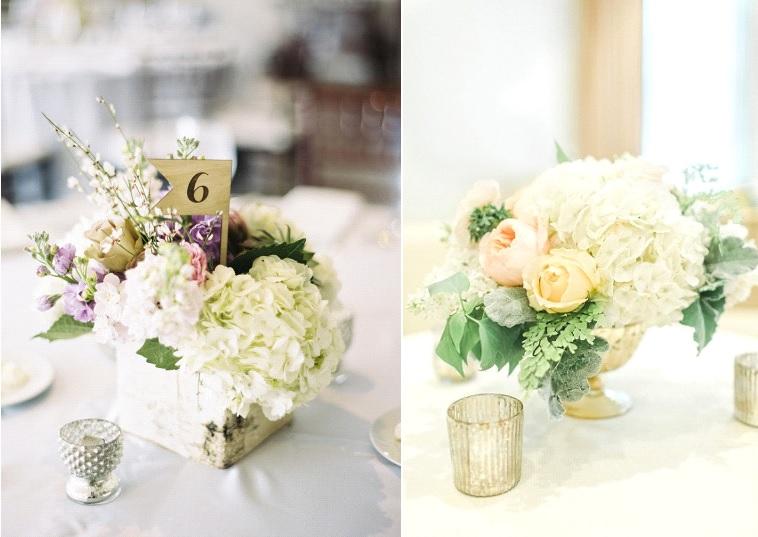 Fleurs 10 id es pour d corer son mariage avec des hortensias - Bouquet de table pour mariage ...