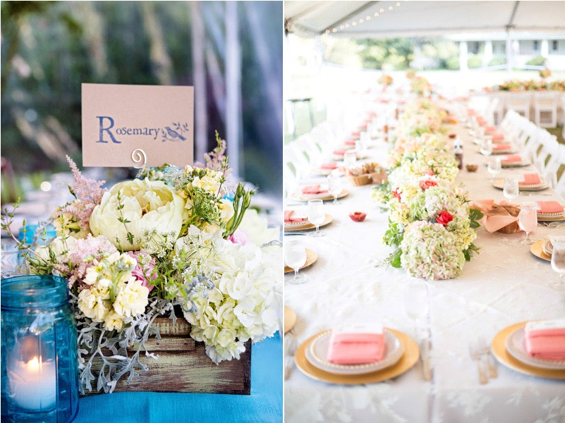 decoration table mariage hortensia