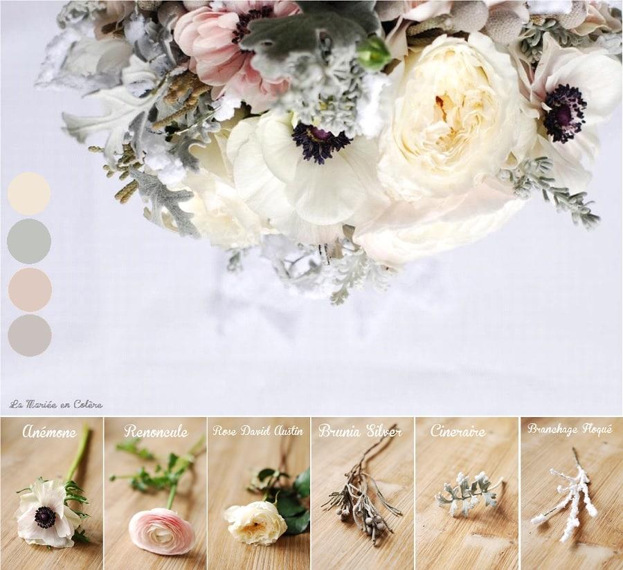 bouquet de mariée janvier mariage hiver, anémones, renoncules, rose david austin