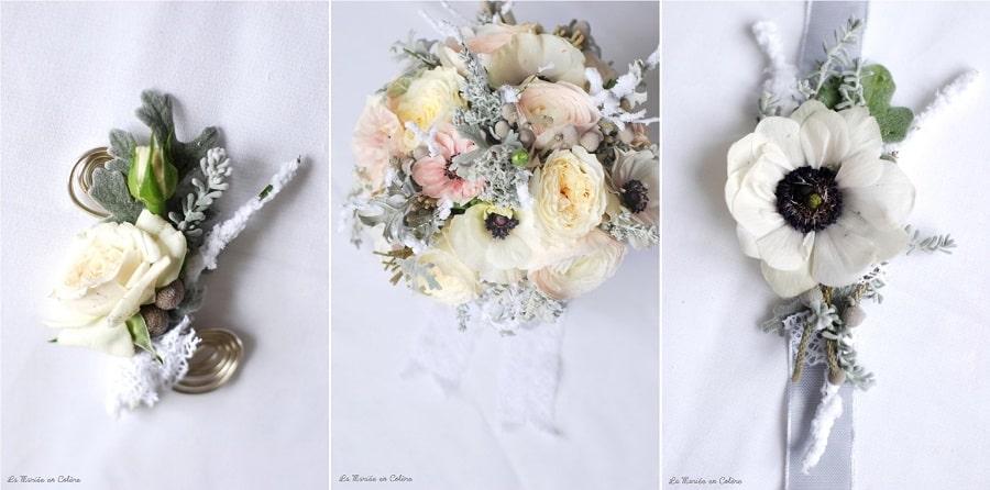 bouquet de mariée janvier mariage hiver, anémones, renoncules, rose david austin 4