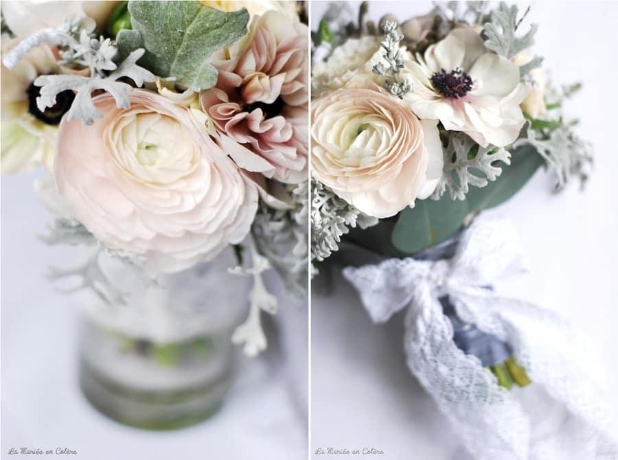 bouquet de mariée janvier mariage hiver, anémones, renoncules, rose david austin 5