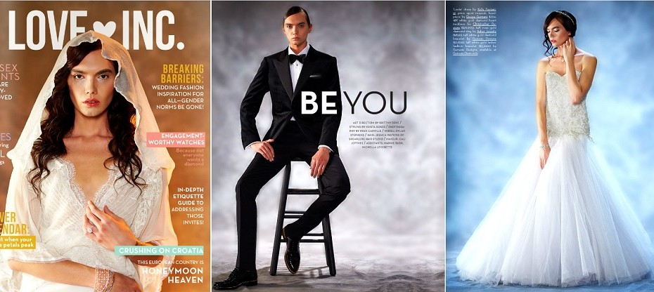 Un mannequin androgyne fait la Une d'un magazine de mariage Américain.