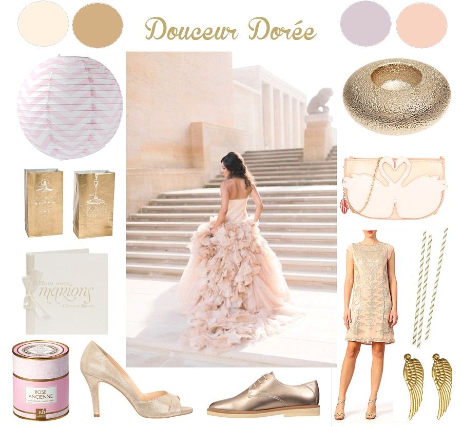 Inspiration mariage rose dor - Deco mariage rose poudre ...