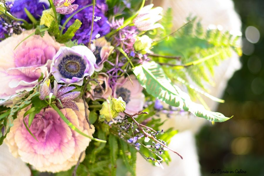 bouquet de mariée rose et violet