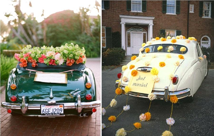 10 id es pour d corer la voiture des mari s - Decoration voiture mariage sans fleur ...