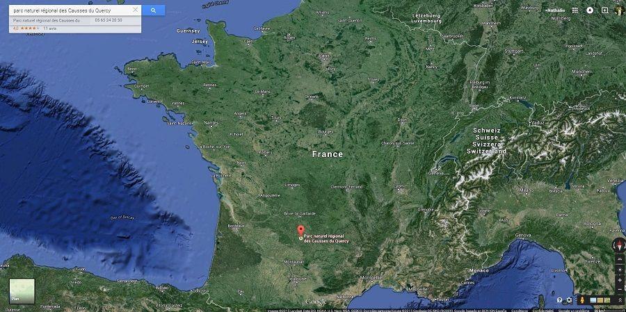 parc naturel régional des Causses du Quercy carte