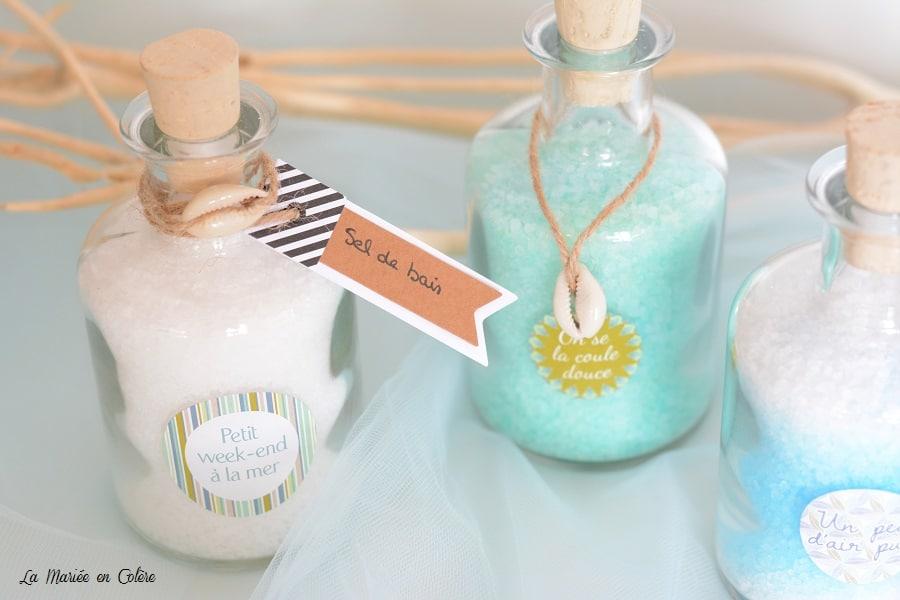 Mariage thème mer cadeau invités sel mer