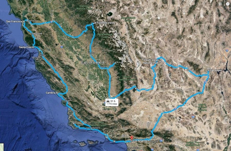 itinéraire voyage de noces californie