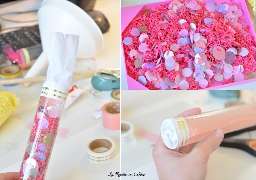 étape pour faire un canon à confettis sortie cérémonie mariés