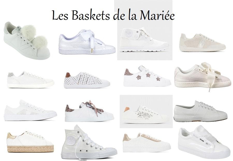 baskets blanches mariée