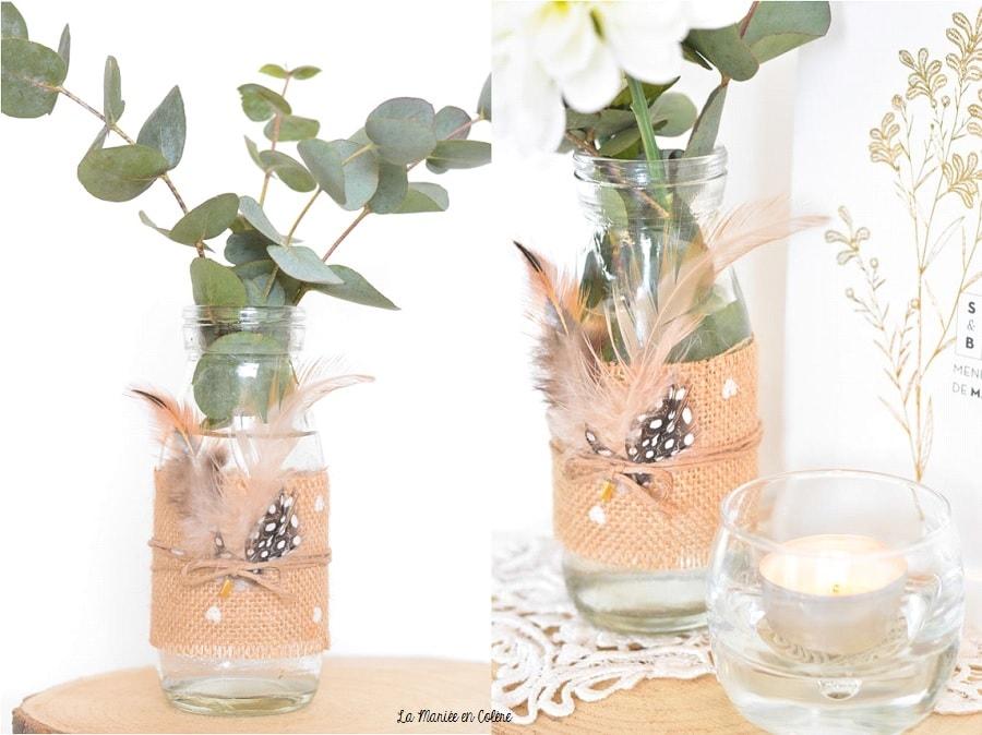 vase mariage champêtre, déco originale tendance