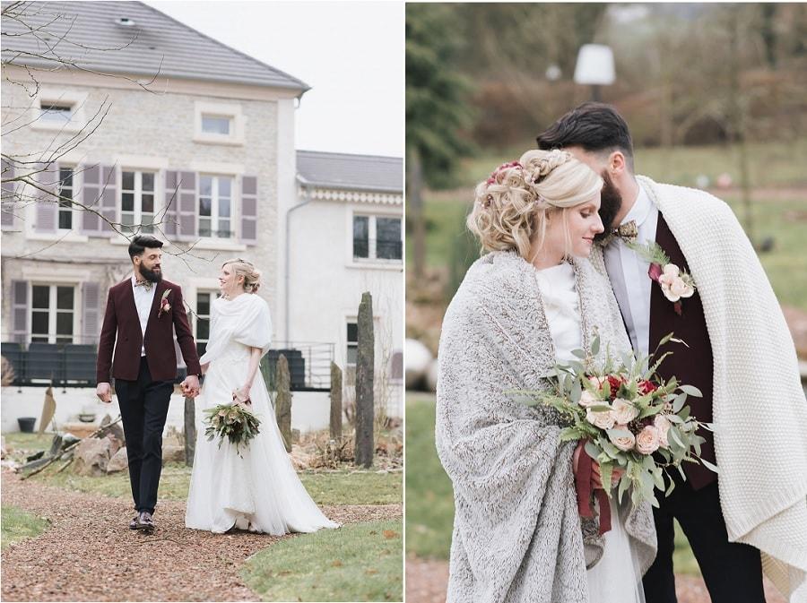 mariage hiver tenue mariés