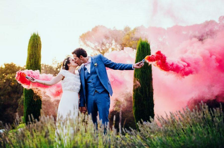 fumigène mariage photo