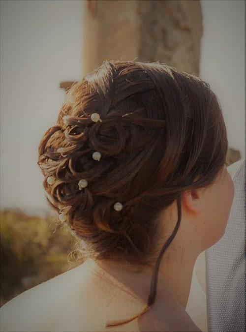 coiffure mariage chignon perles