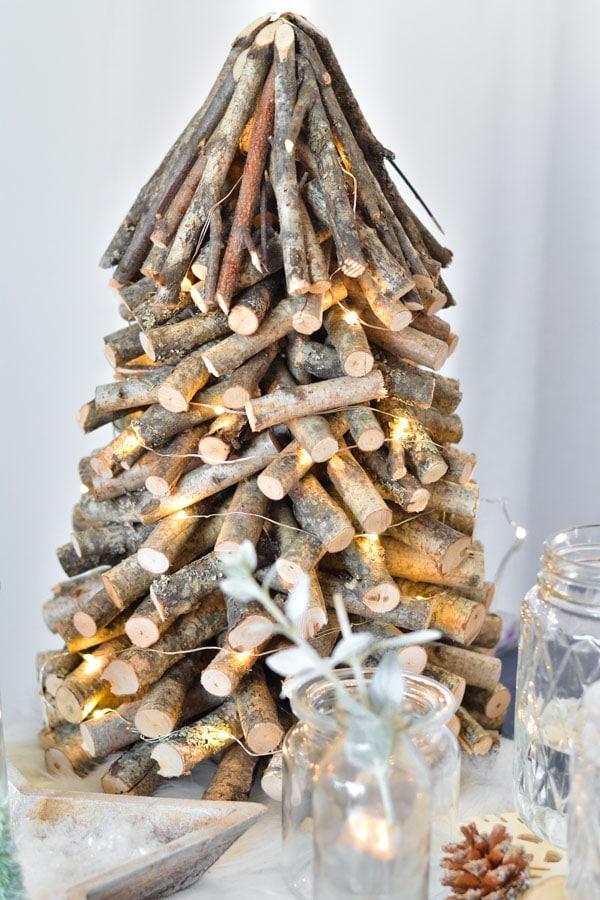 8 sapin noel bois lumières