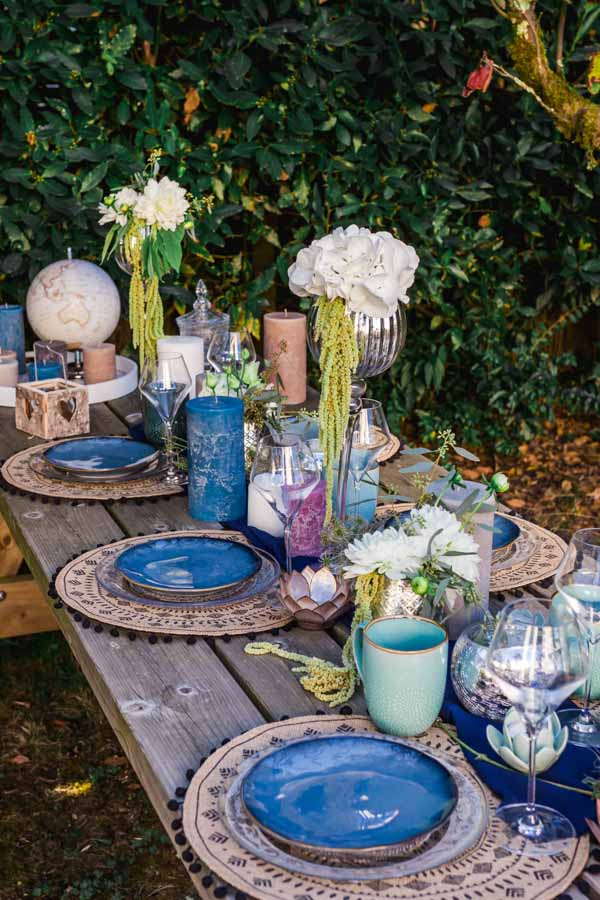 décoration mariage bleu, idée table