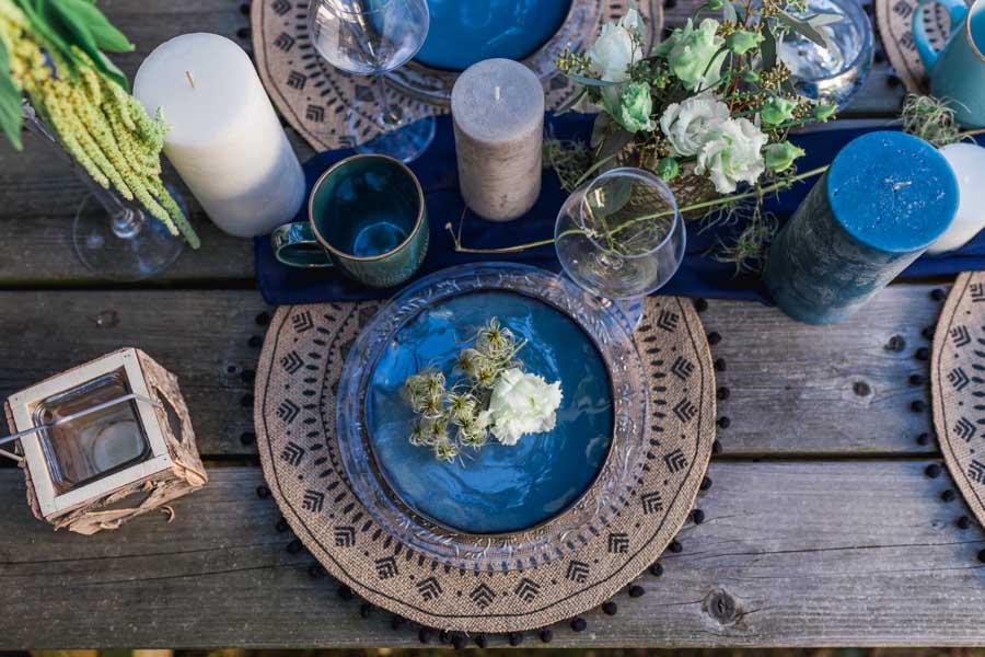 Deco De Table Ambiance Boho Chic En Degrades De Bleu
