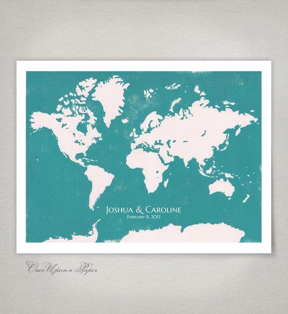 carte du monde à signer mariage