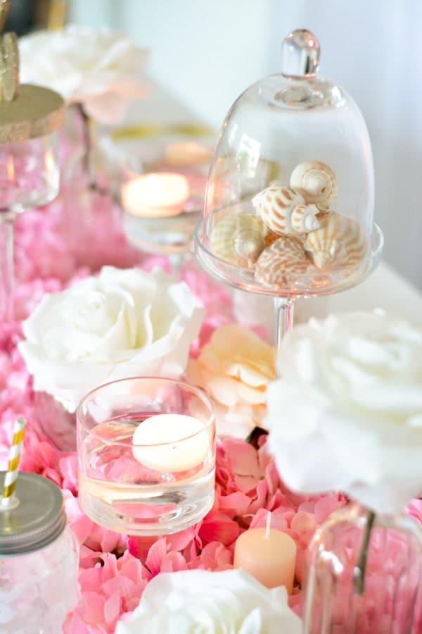 chemin de table fleurs hortensia rose-min