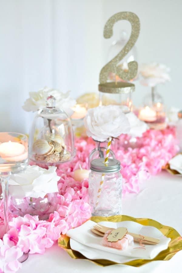 décoration table rose doré-min