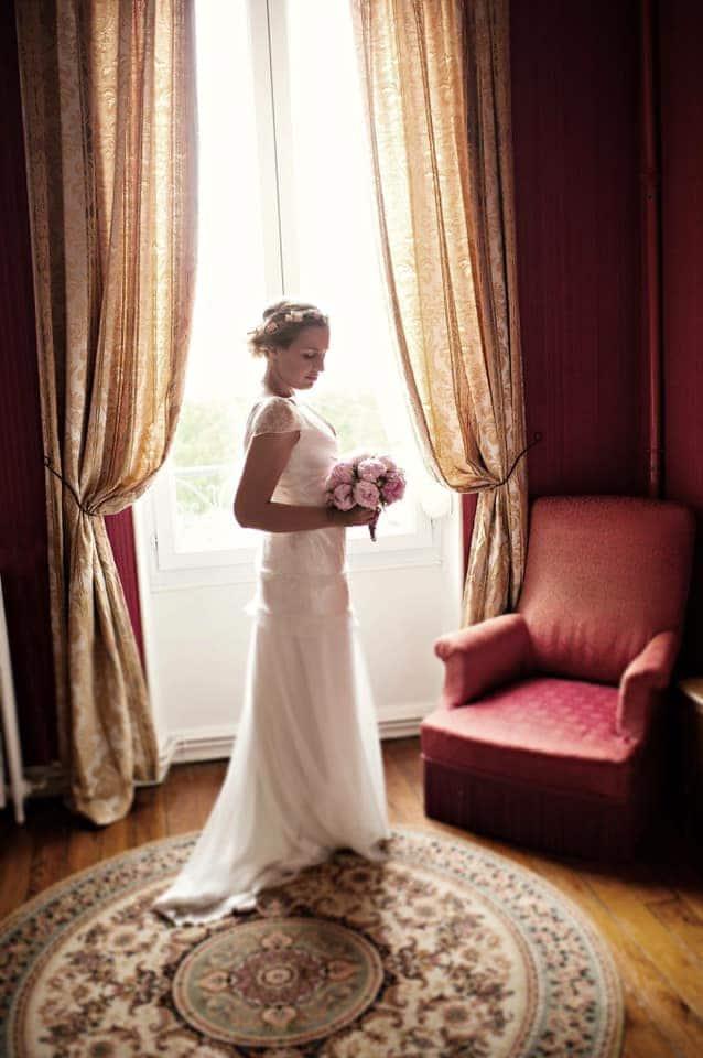robe de mariée petites manches dentelle