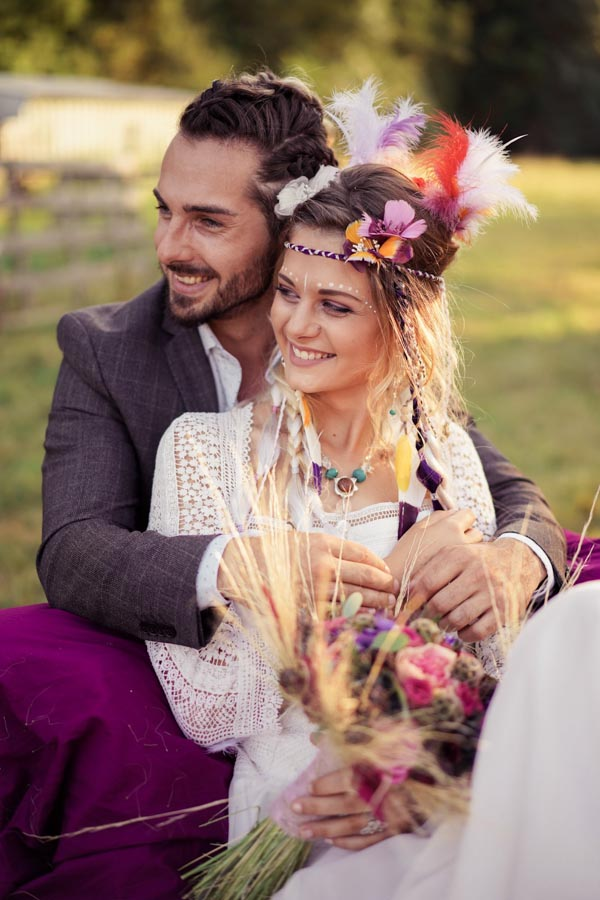 couple marige hippie chic
