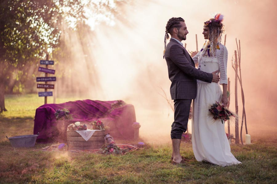 photo mariage hippie