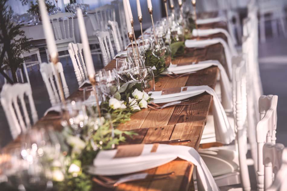 décoration table mariage nature table banquet bois