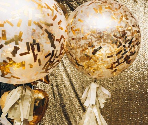 confettis ballons transparents