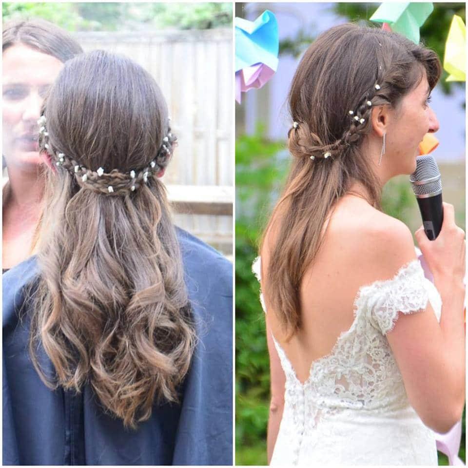coiffure mariée cheveux lâchés tresse