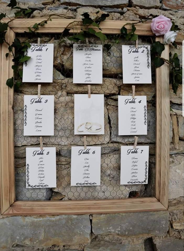 cadre bois mariage plan de table