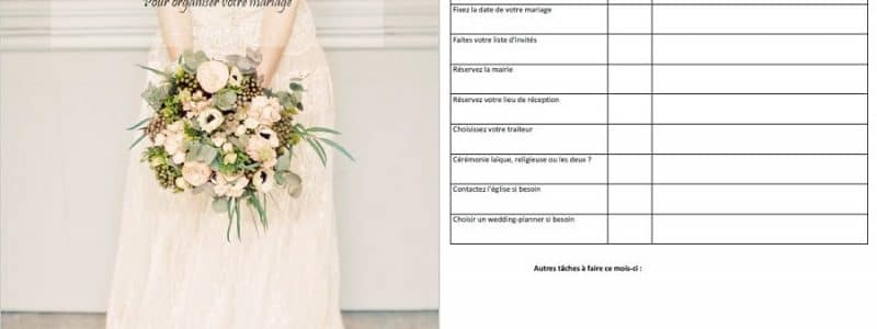 planning mois par mois mariage