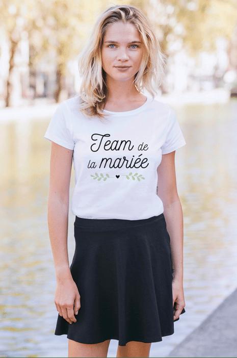 team-de-la-mariée-cœur-tshirt-femme-col-rond