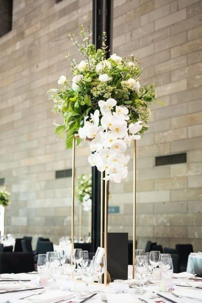 center de table haut métal mariage
