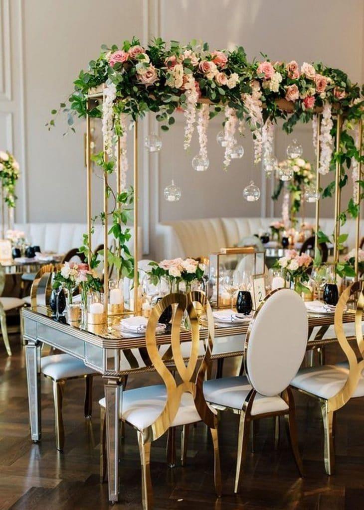centre de table haut mariage