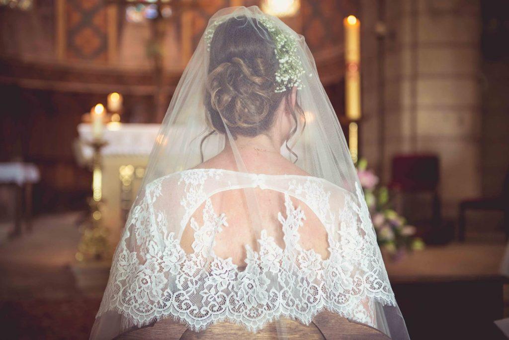 chignon mariée voile