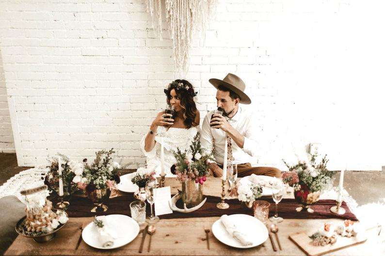 chemin de table tissu mariage