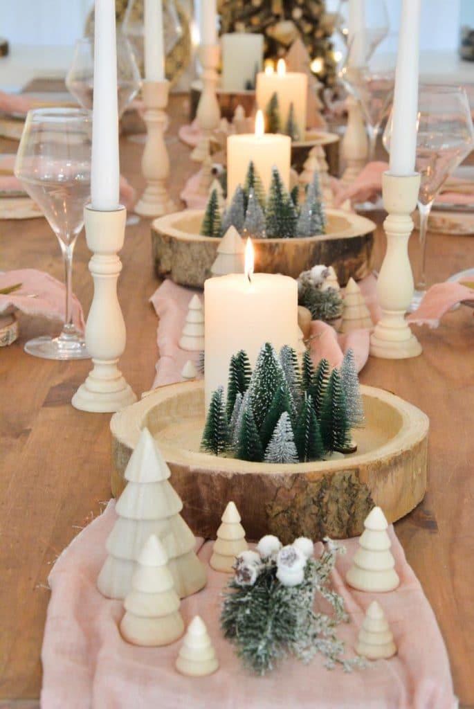 Inspiration} Décorer sa table de Noël en rose et bois
