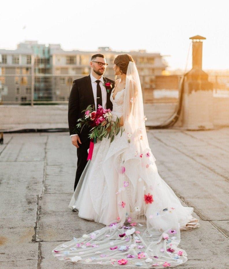 Mode Mariage : le voile de mariée fleuri