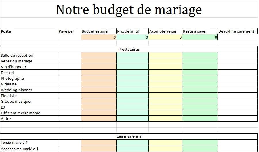 Tableau EXCEL à remplir budget mariage