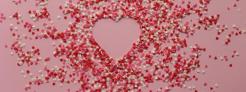 confetti with heart shape on surface