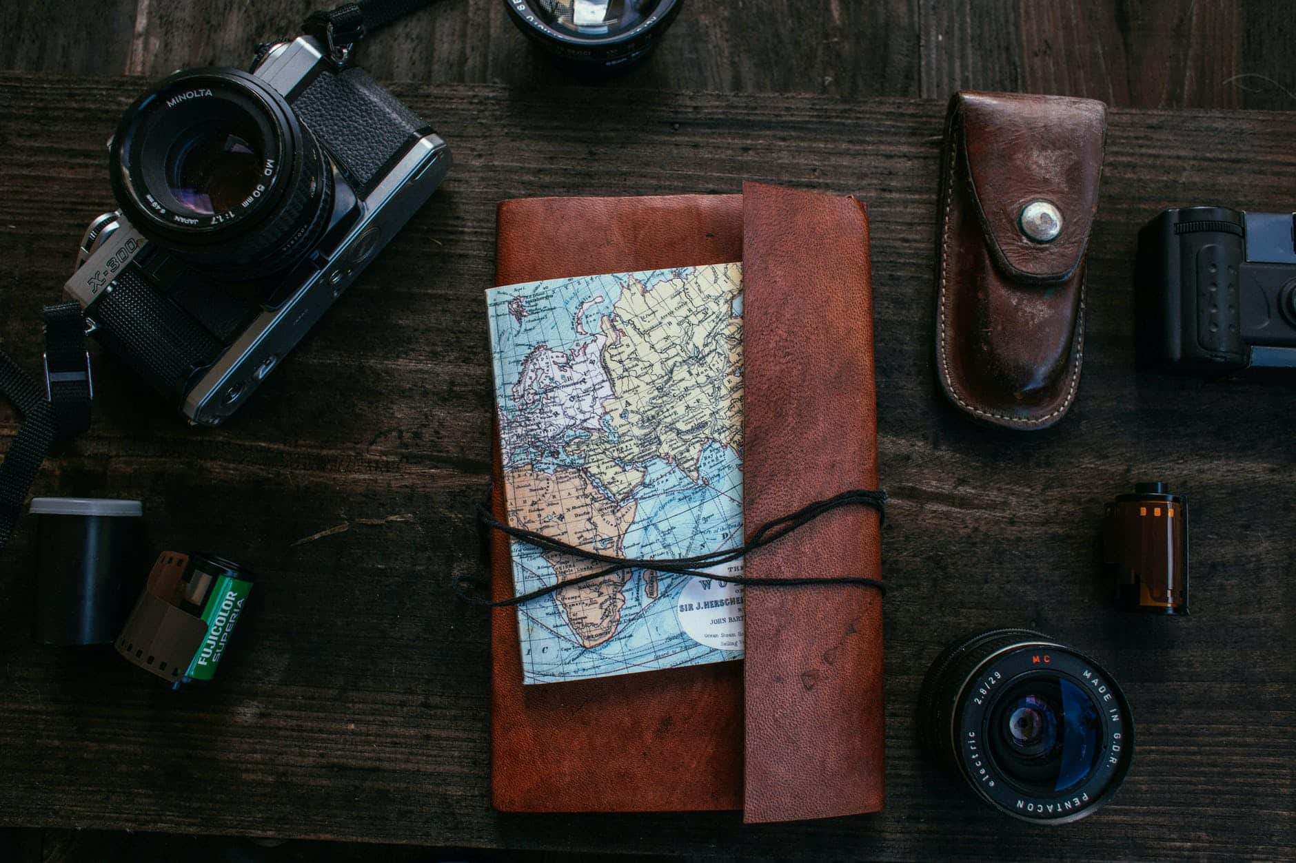 traveler set with diary and map