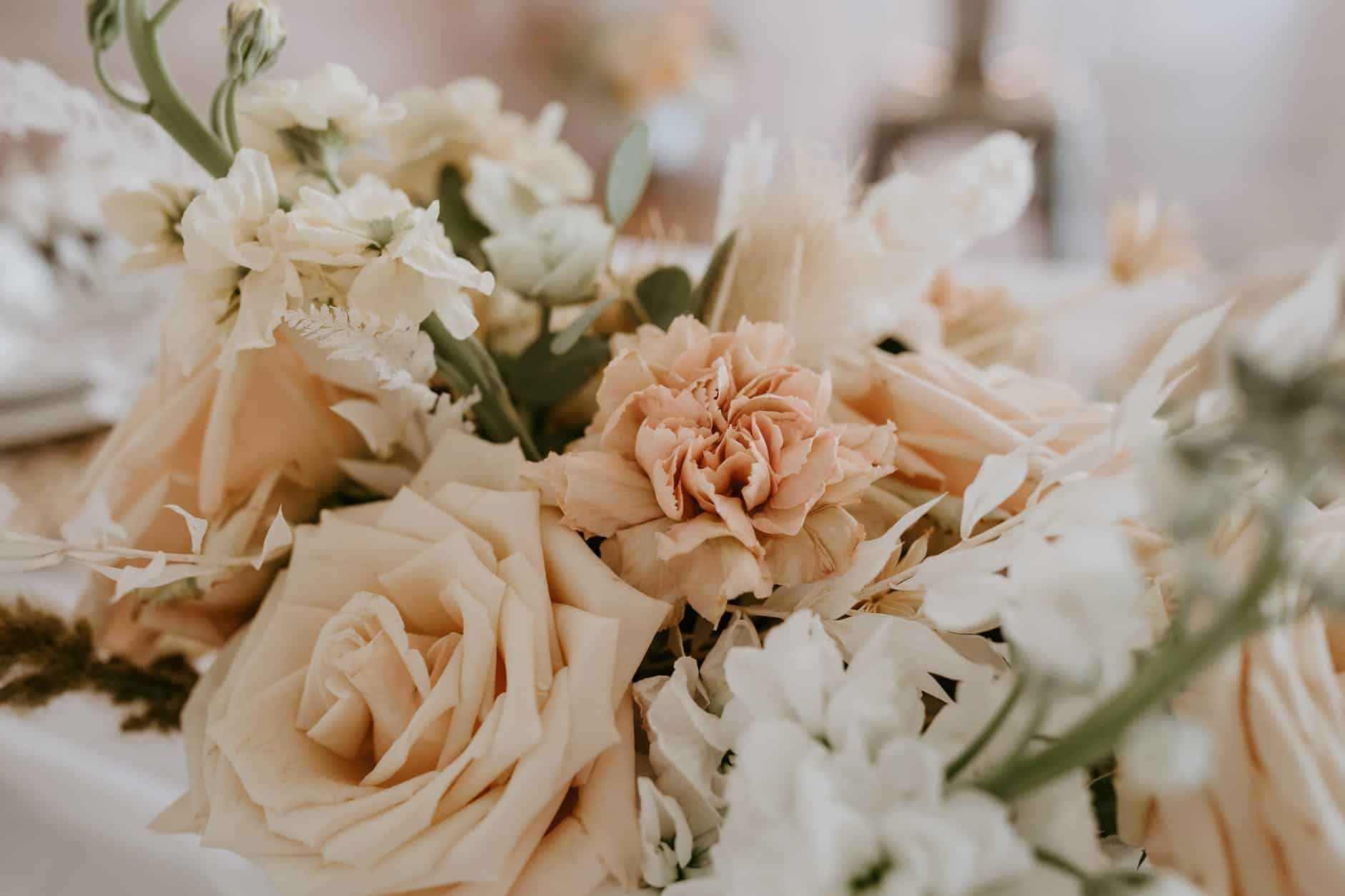 bouquet of fresh flowers decorating wedding table