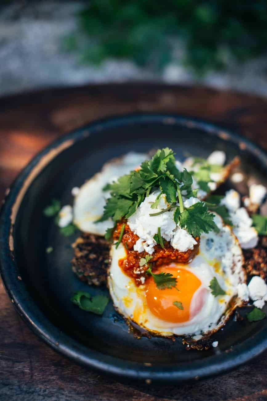 delicious breakfast with fried eggs in plate