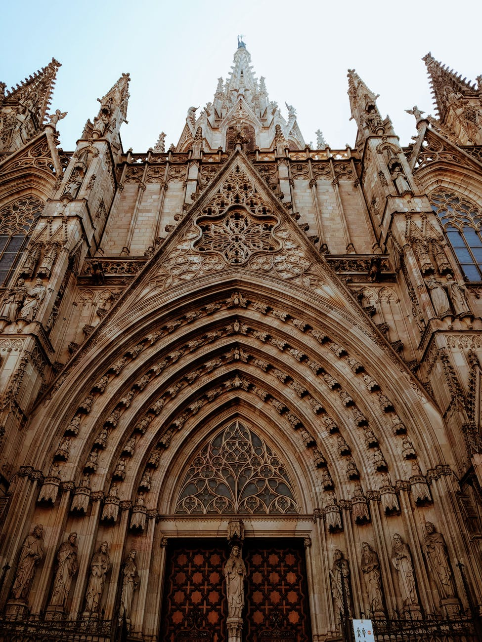 worm s eye view of the barcelona cathedral