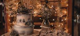 festive wedding cake decorated with chocolate flowers